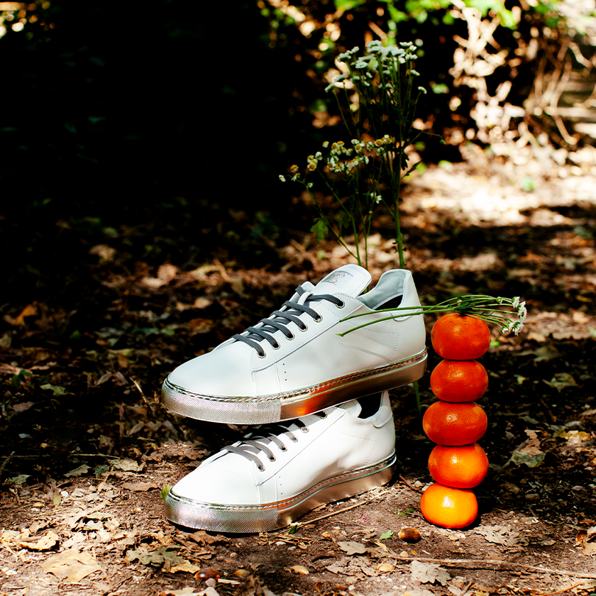 FK Normal - White and Gold Tennis Shoes on with fruit