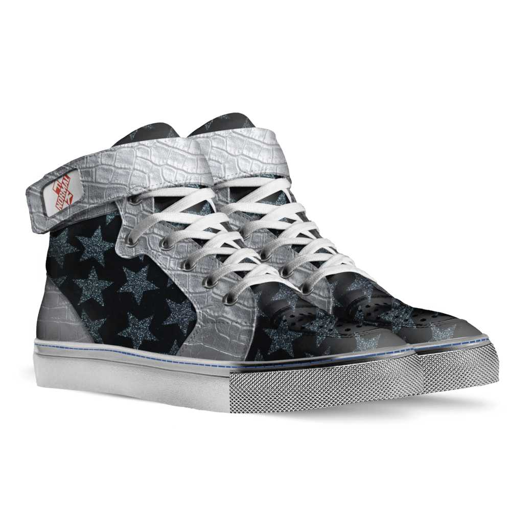 Mens basketball high top trainer – stars and silver-FK NORMAL