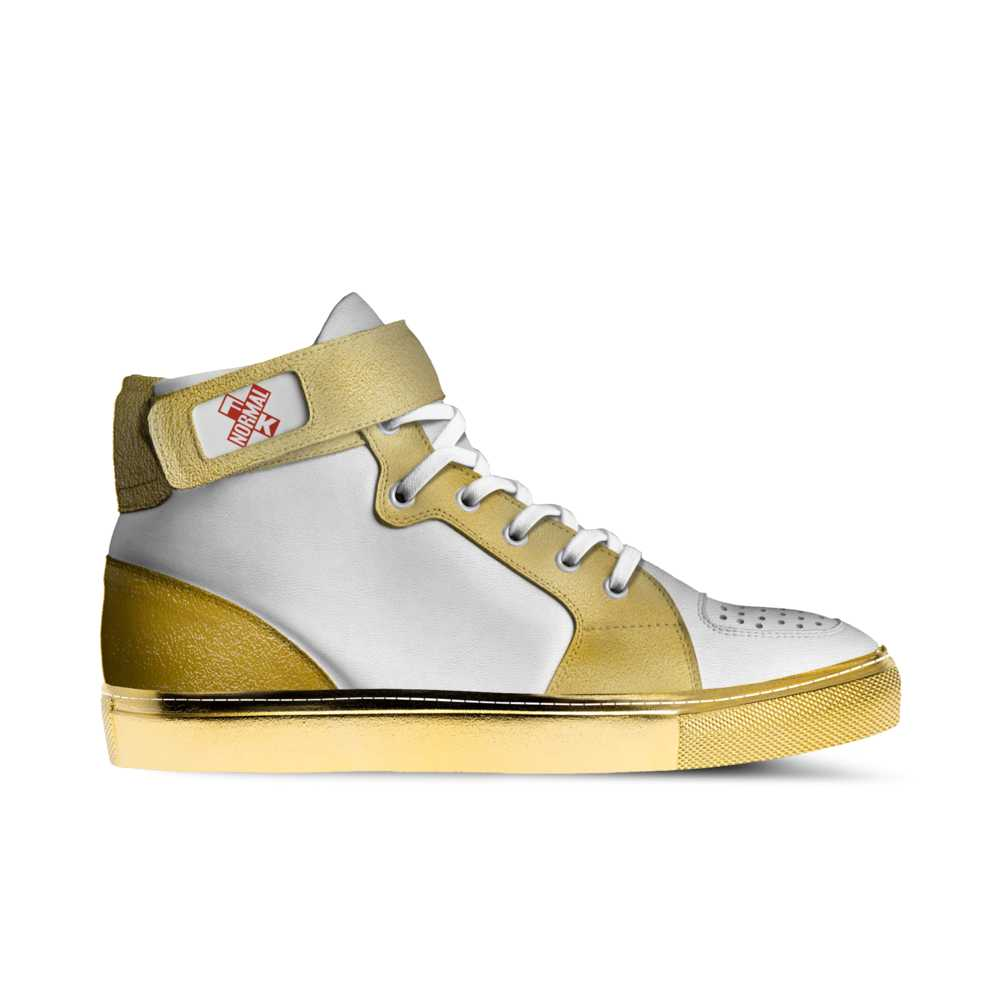 Mens basketball high top trainer - white and gold-FK NORMAL
