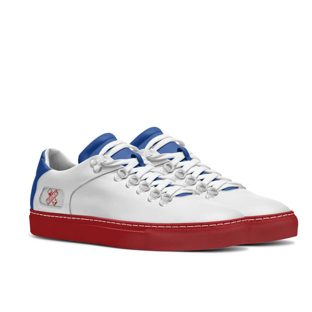 Mens hook low top tennis trainer - blue and red-FK NORMAL