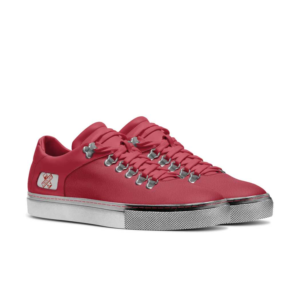 Mens hook low top tennis trainer - red and silver-FK NORMAL