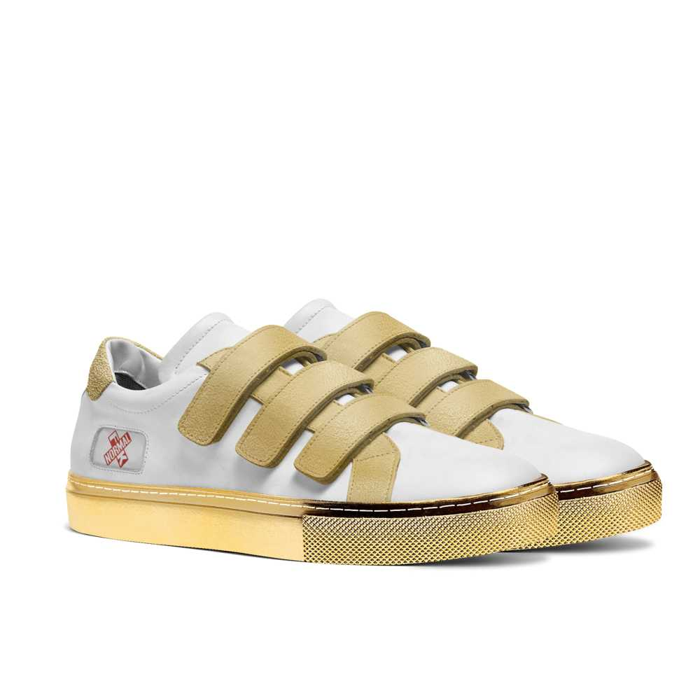 Mens low top strap tennis trainer - white and gold-FK NORMAL