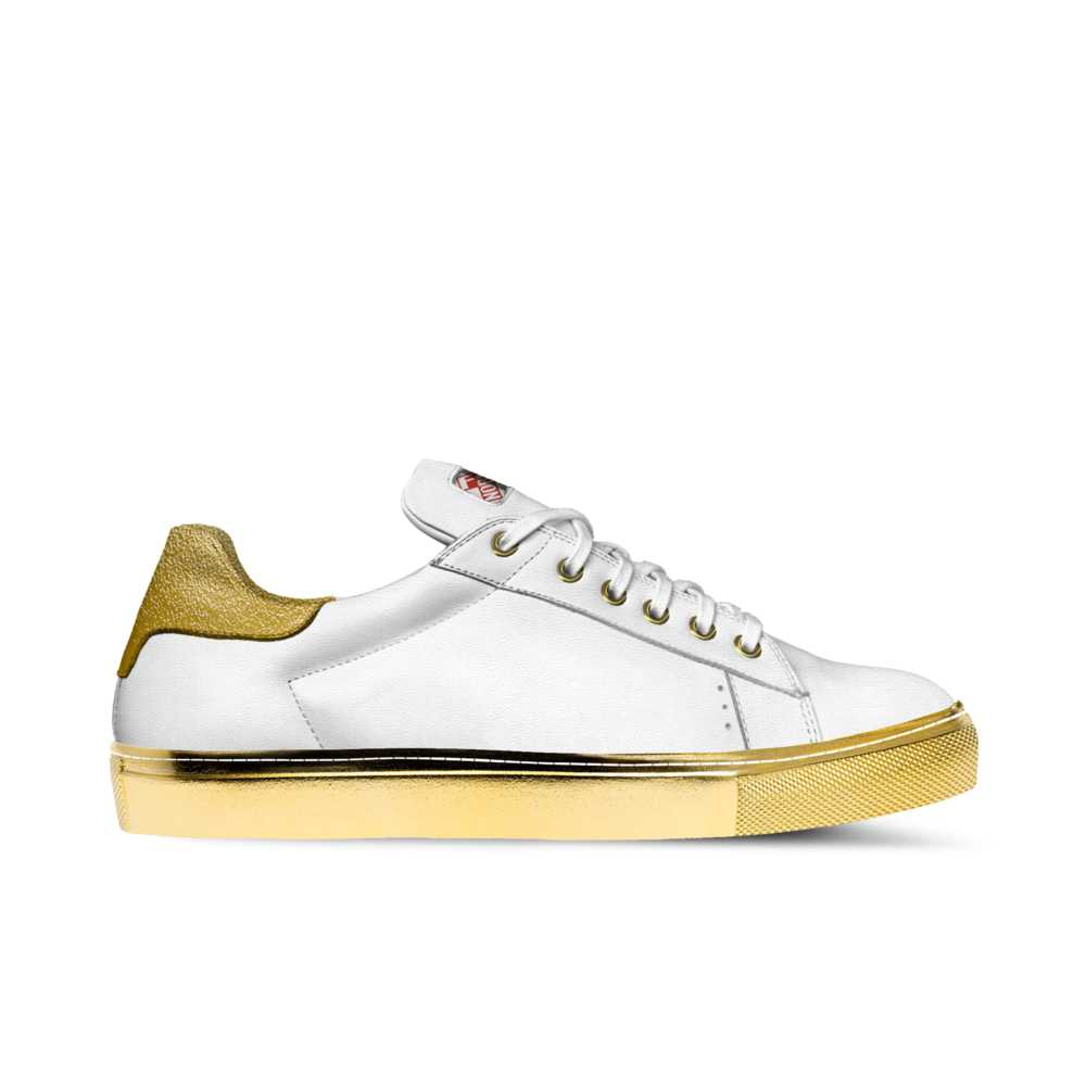 Mens low top tennis trainer - white and gold-FK NORMAL