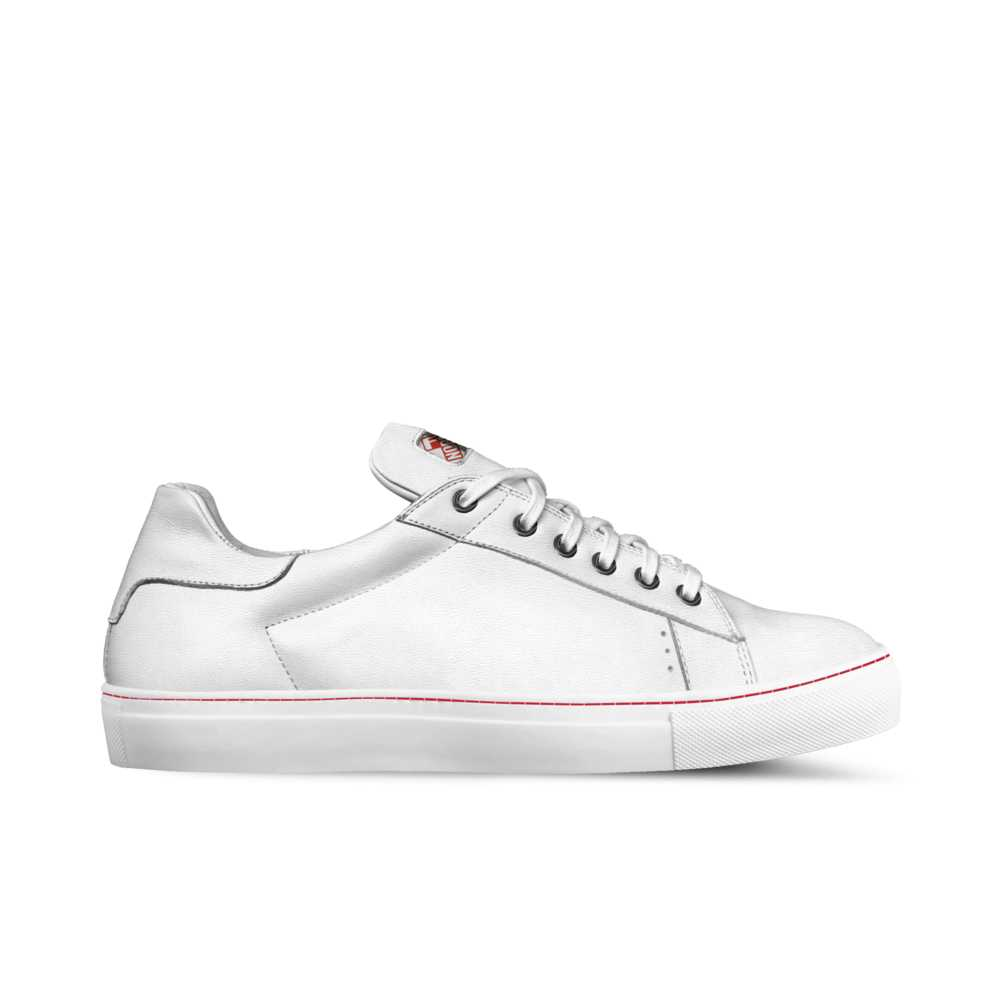 Mens low top tennis trainer - white and red stitch-FK NORMAL