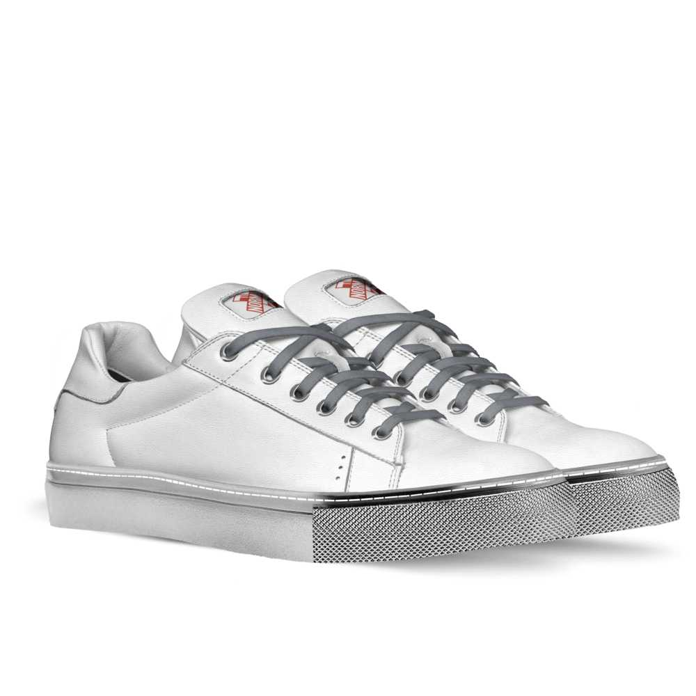 Mens low top tennis trainer - white and silver-FK NORMAL