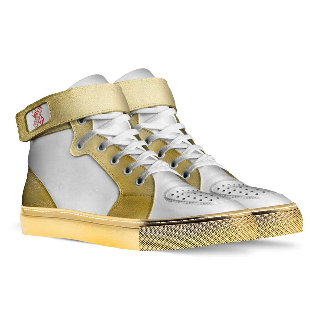 Womens basketball high top trainer - white and gold-FK NORMAL