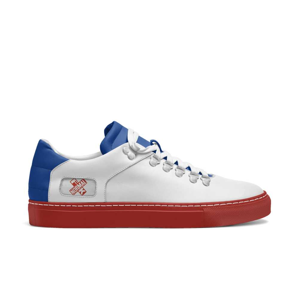 Womens hook low top tennis trainer - blue and red-FK NORMAL