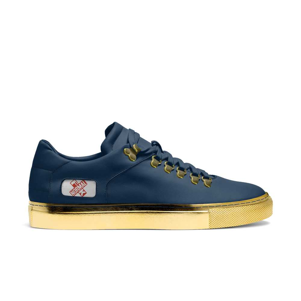 Womens hook low top tennis trainer - navy and gold-FK NORMAL
