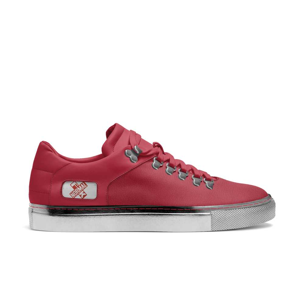 Womens hook low top tennis trainer - red and silver-FK NORMAL