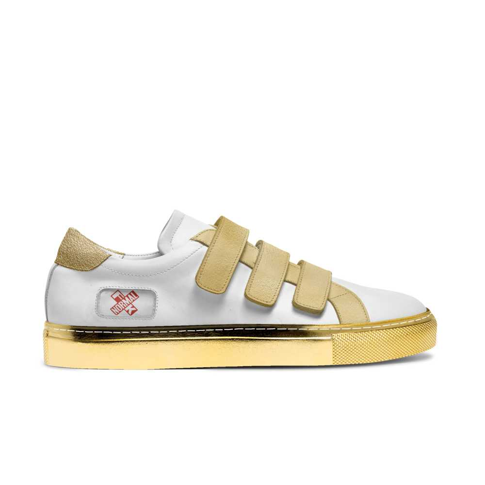 Womens low top strap tennis trainer - white and gold-FK NORMAL