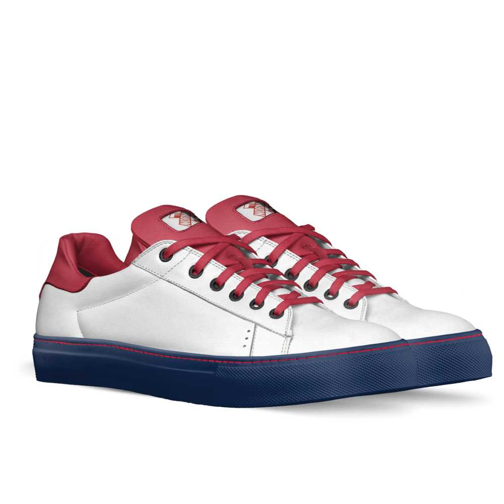 Womens low top tennis trainer - red, white and blue-FK NORMAL