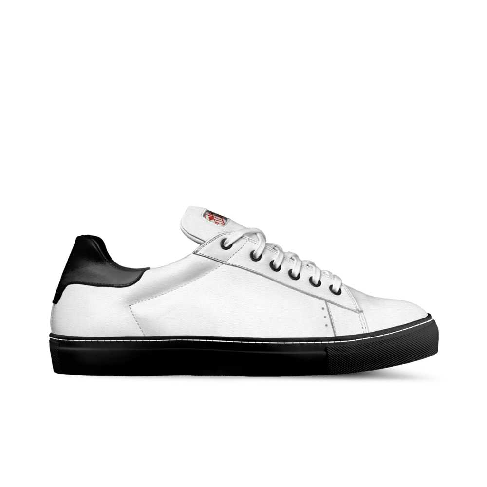 Womens low top tennis trainer - white and black-FK NORMAL