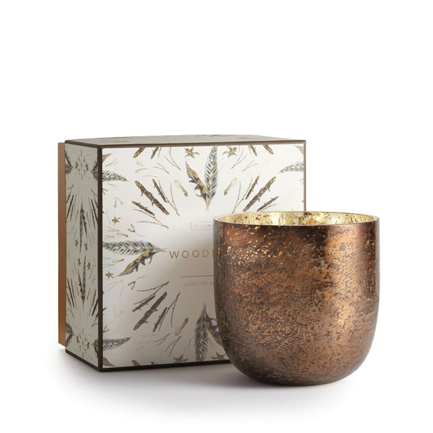 Woodfire Luxe Mercury Glass Candle