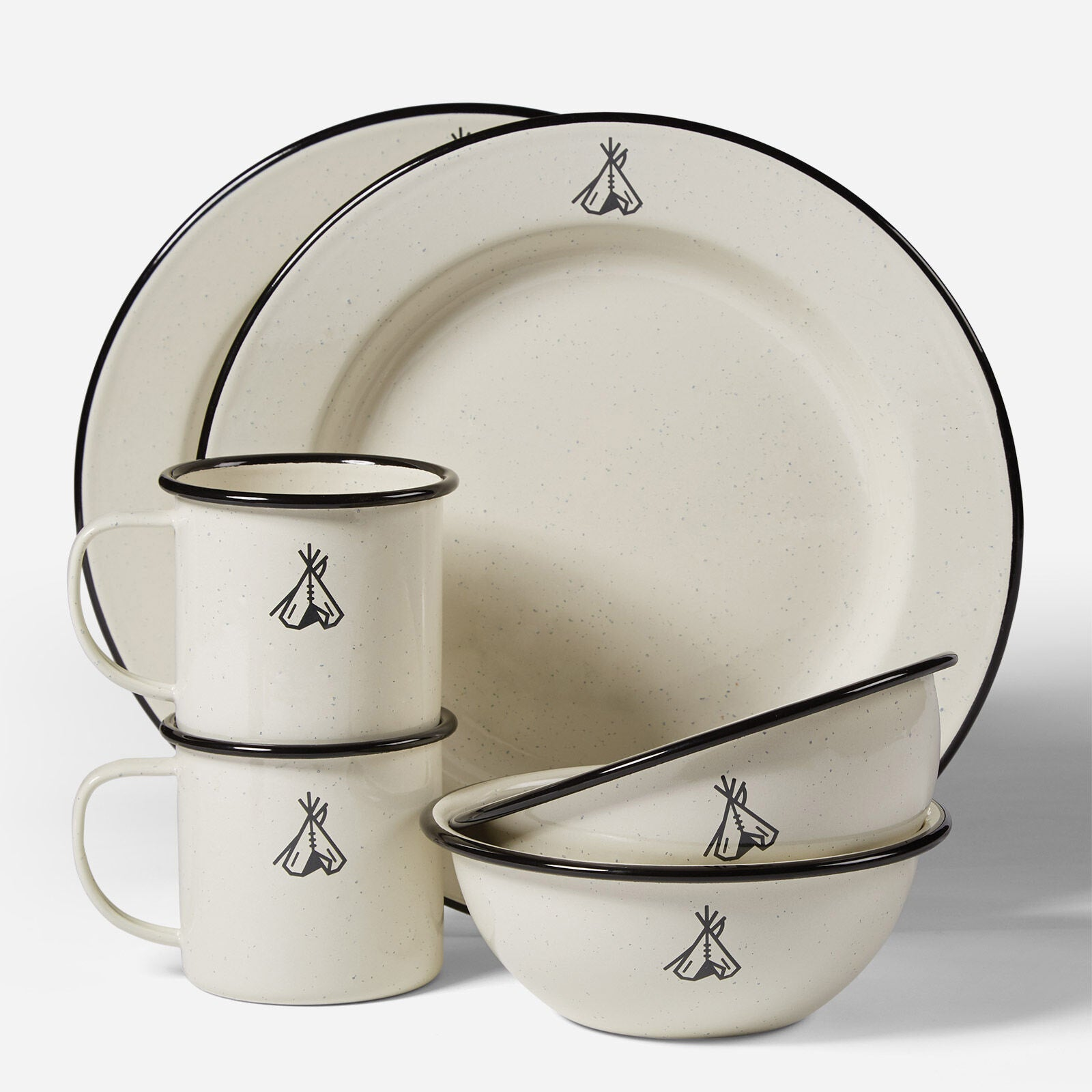 Enamelware Set of 2 in Camp Ivory