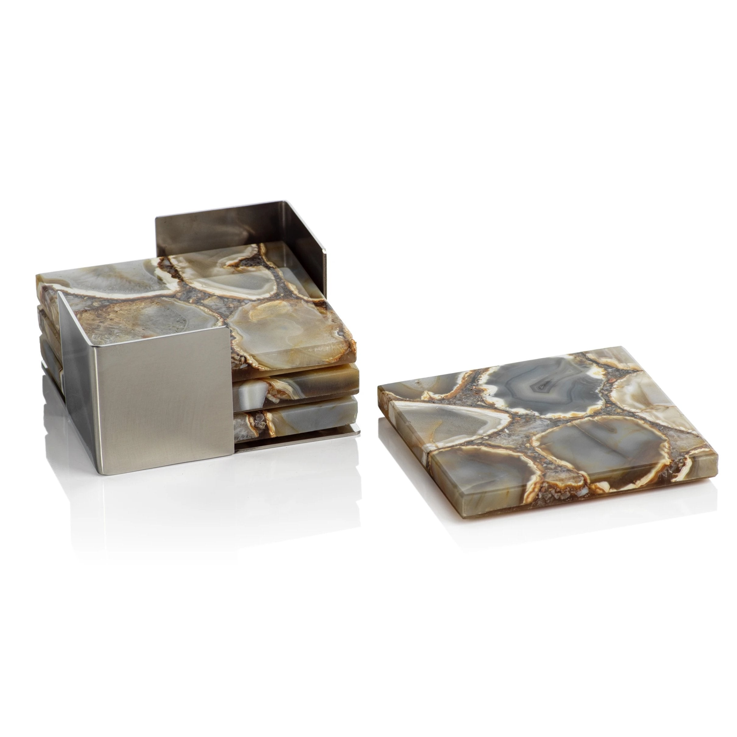 Set/4 Crete Agate Coasters on Metal Tray Taupe/Brown