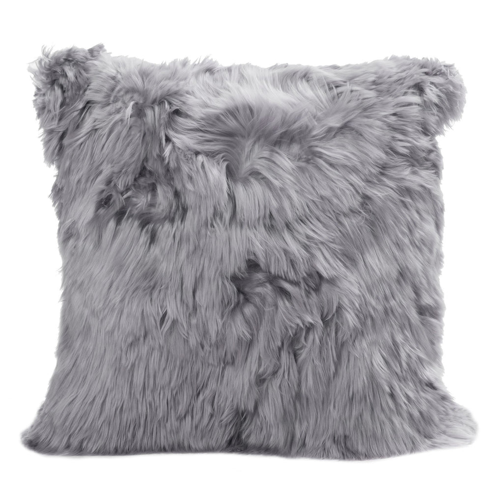 Alpaca Suri Cushion Square 50cm Microsuede Cool Grey