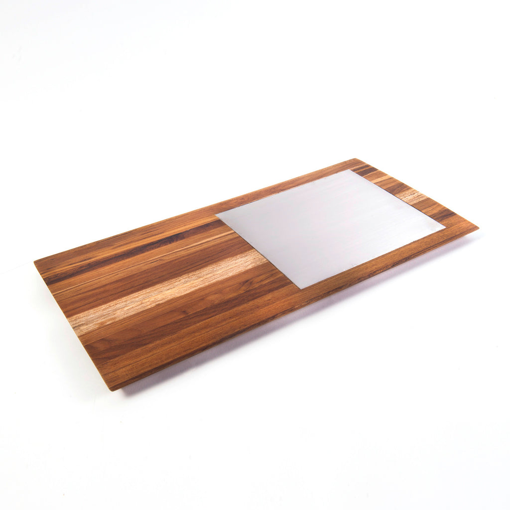 Laminated Teak Cheese Board With Stainless Steel Inlaid 8X23L
