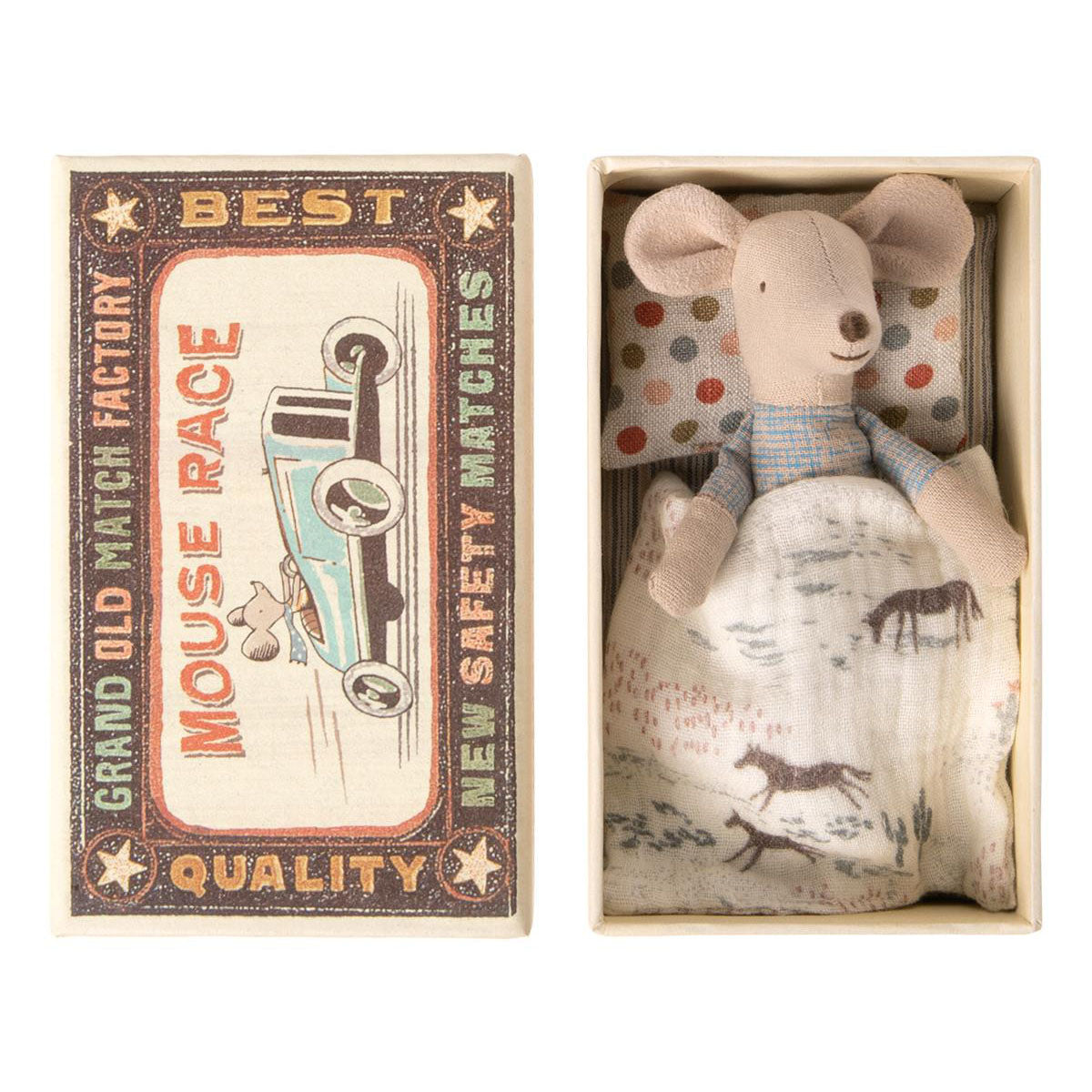 Maileg - Little Brother Mouse In Matchbox (Design Pillow)