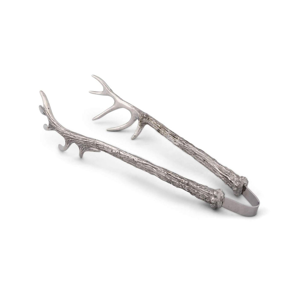Pewter Antler Pattern Ice/Bread Tongs