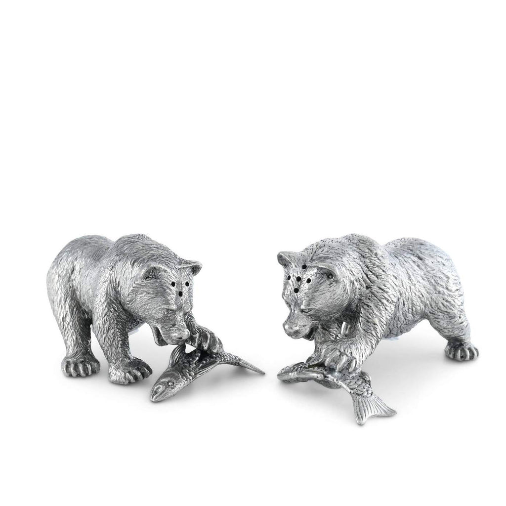 Pewter Fishing Bear Salt & Pepper Set