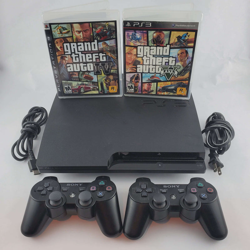 Playstation 3 Console Slim Bundle: Grand Theft Auto IV + V | Retrolio Games