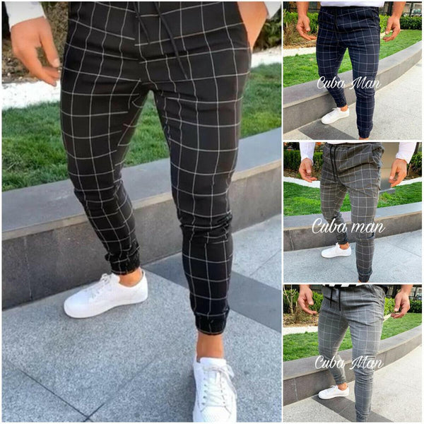 Men's Slim Fit Plaid Straight Leg Trousers Casual