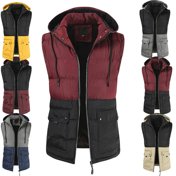 Men Autum Winter Hooded Patchwork Outwear Vest Jacket Tops Blouse motion fashion Leisure Solid color style Work clothes