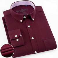 Mens Long Sleeve Solid Oxford Dress Shirt