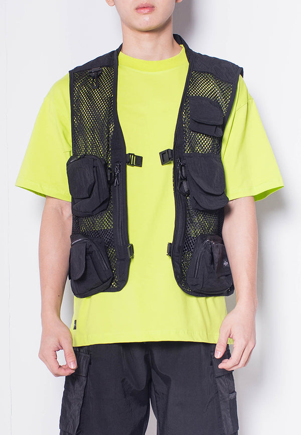 Men Buckle Vest - Black - H0M696