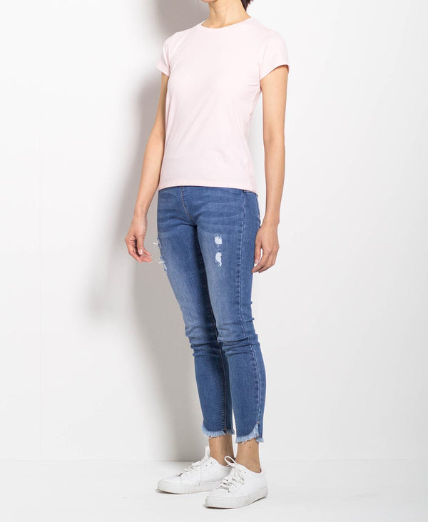Women Short Sleeve Basic Tee - Light Pink