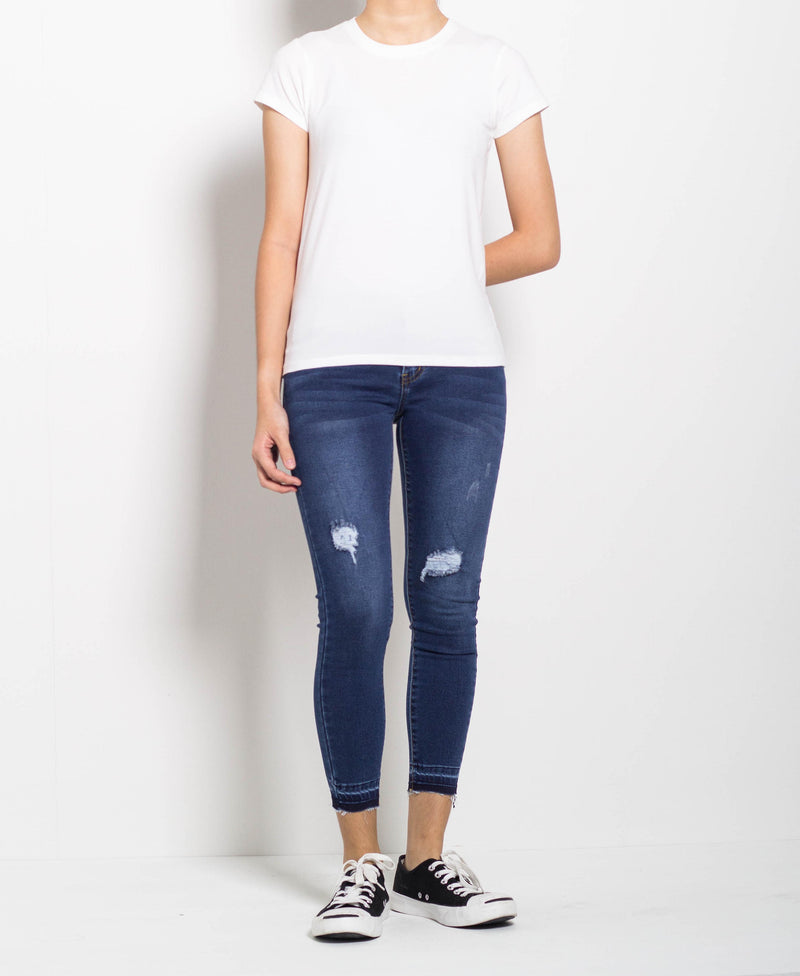 Women Short Sleeve Basic Tee - White