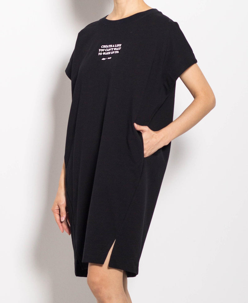 Women Short Sleeve Dress - Black