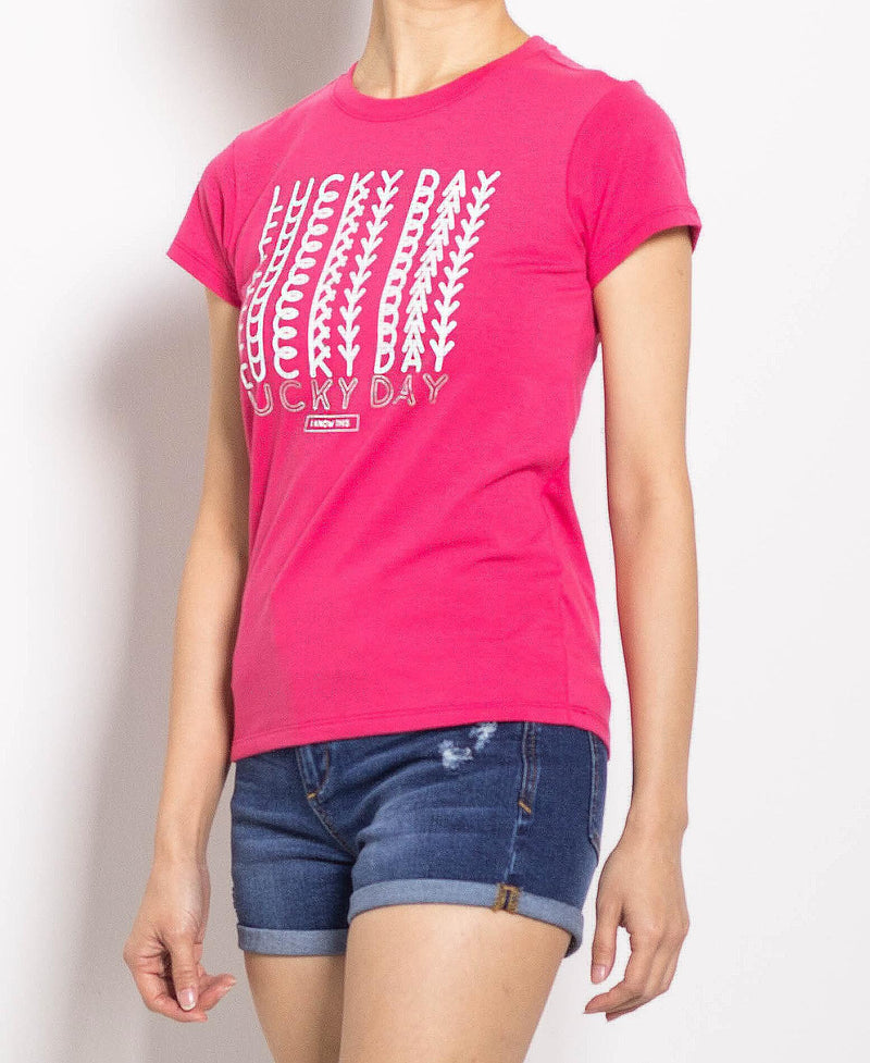 Women Short Sleeve Graphic Tee - Pink - FOW695