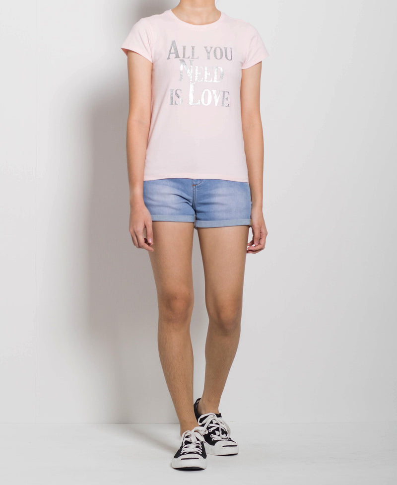 Women Short Sleeve Graphic Tee - Light Pink