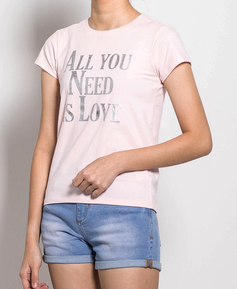 Women Short Sleeve Graphic Tee - Light Pink - FOW703