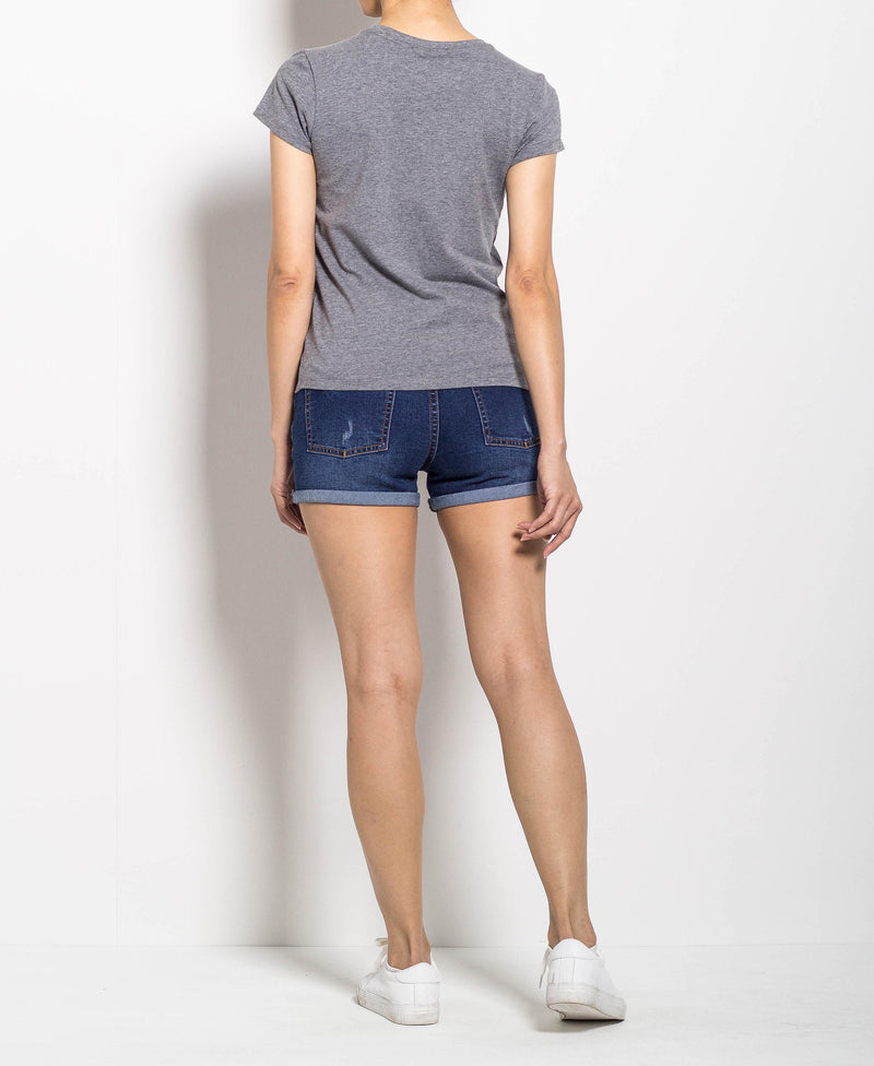 Women Short Sleeve Graphic Tee - Grey - FOW702