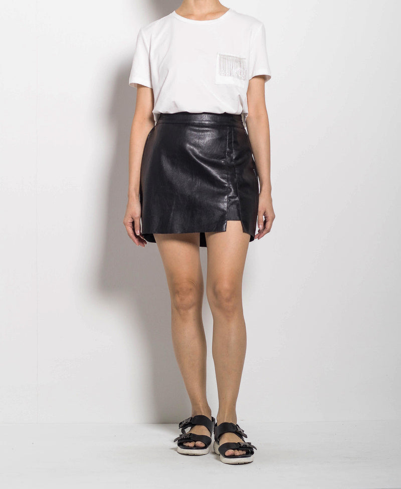 Women Faux Leather Short Skirt - Black
