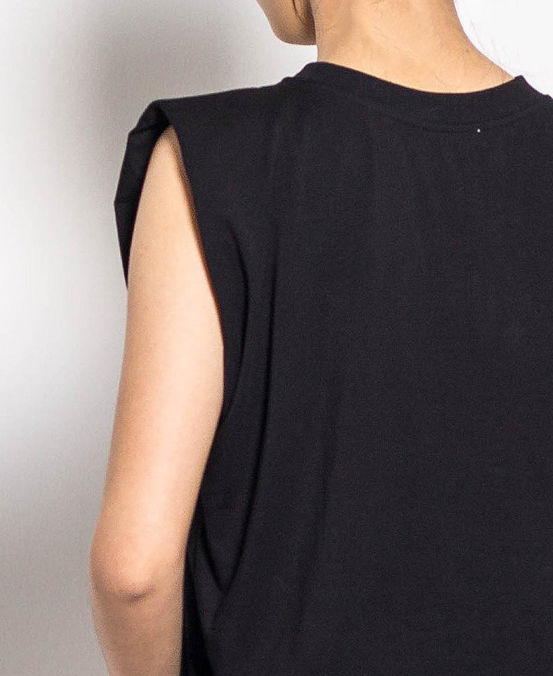 Women Short Sleeve Blouse With Shoulder Pads - Black - H0W718
