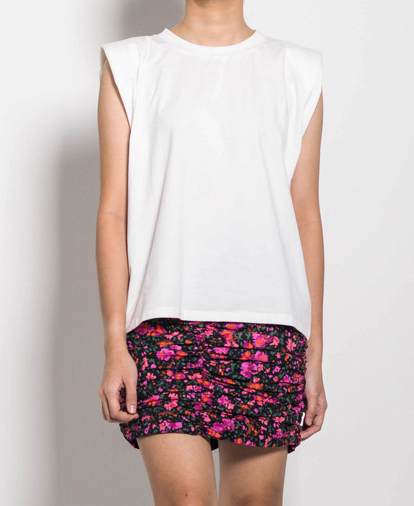 Women Short Sleeve Blouse With Shoulder Pads - White - H0W719