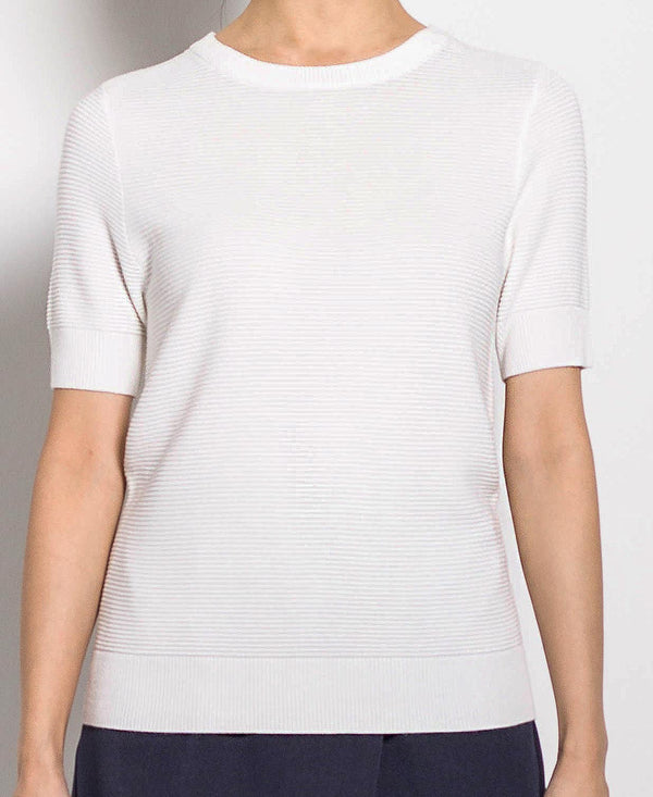 Women Short Sleeve Knit Top - White - H0W734