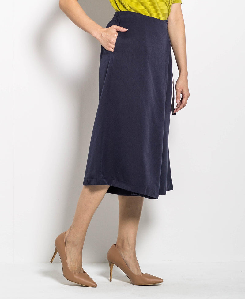 Women Culottes With Buckle Belt - Navy - H0W744