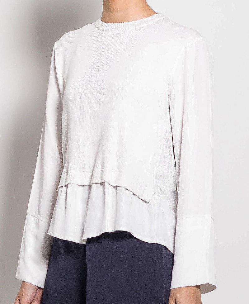 Women Long Sleeve Knit Top - White