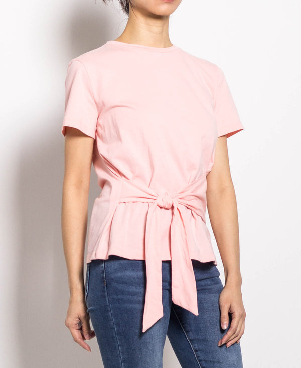 Women Tied Front Short Sleeve Tee - Light Pink - H0W729