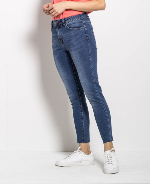 Women Mid Waist Skinny Long Jeans - Blue