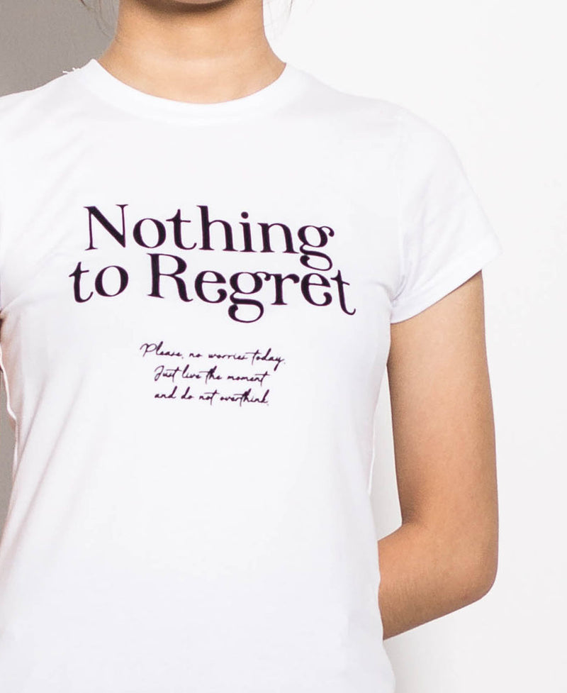 Women Short Sleeve Slogan Tee - White