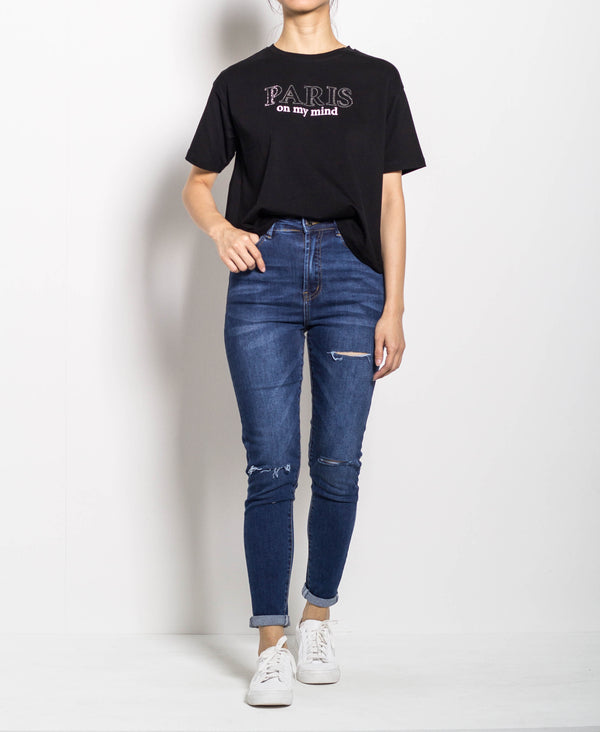 Women Short Sleeve Tee With Rhinestone - Black