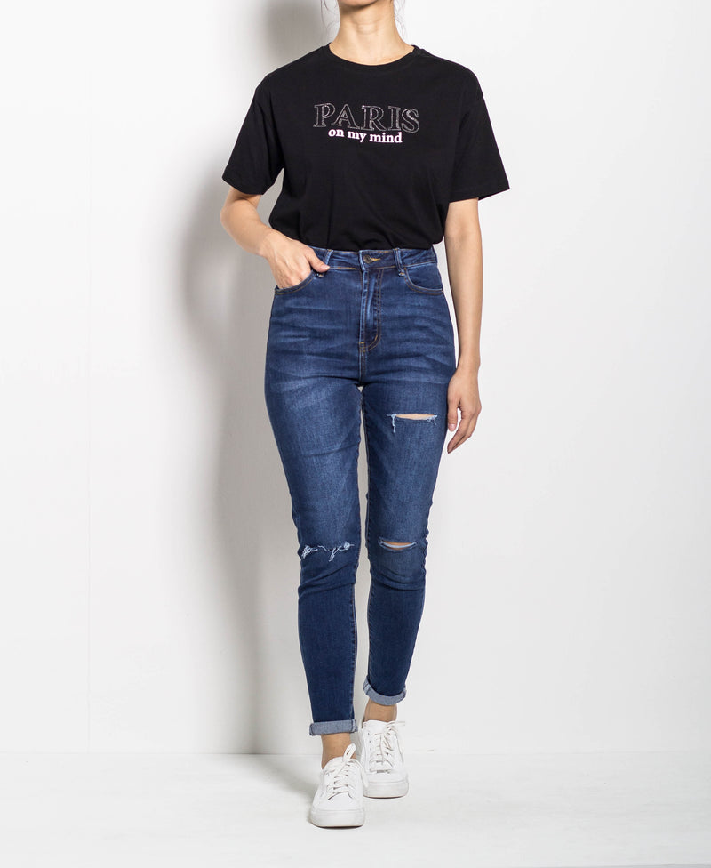 Women High Waisted Skinny Fit  - Blue - M0W518