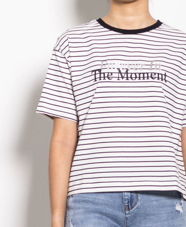 Women Short Sleeve Stripe Tee - White