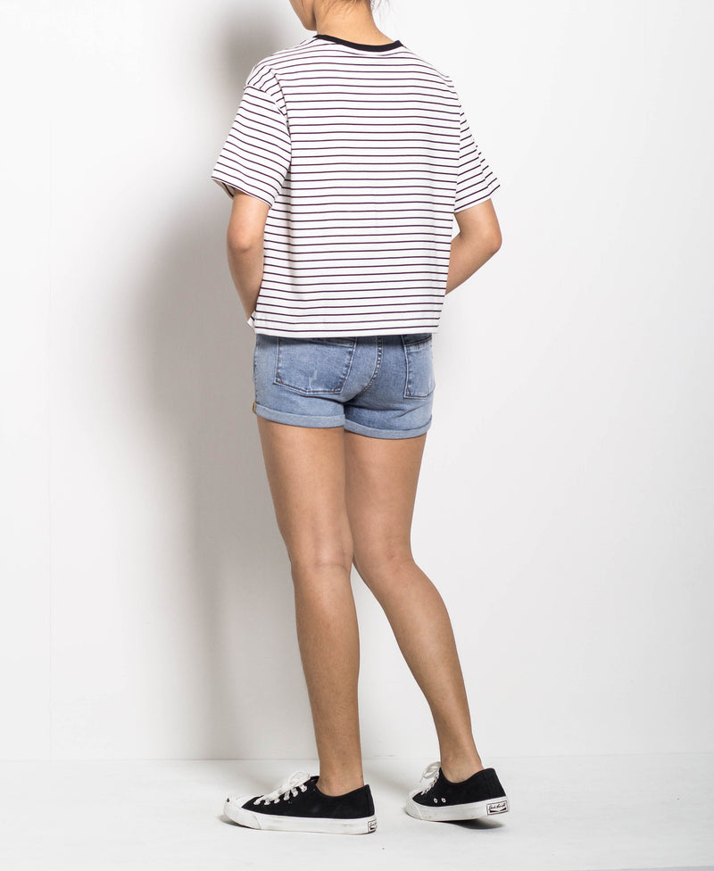 Women Short Sleeve Stripe Tee - White - H0W784