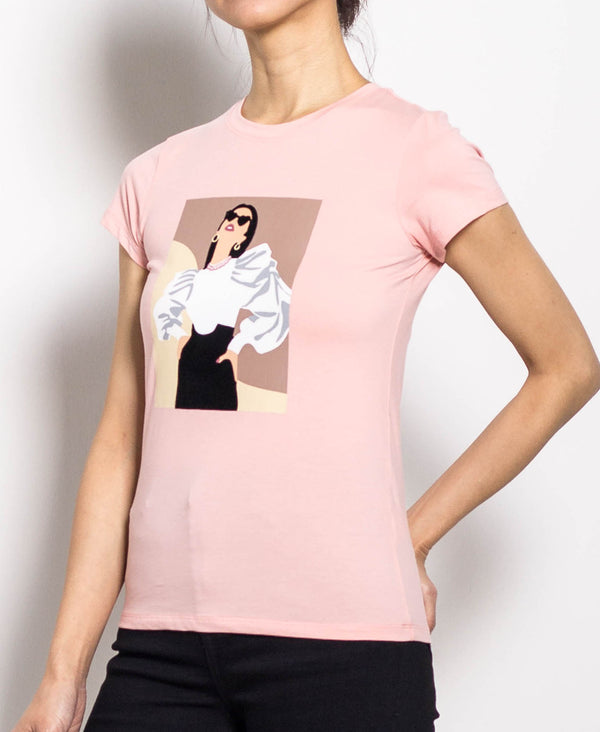 Women Short Sleeve Graphic Tee - Pink